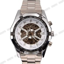 Automatic Skeleton Stainless Steel Mechanical Mens Wristwatch Wrist Watch White