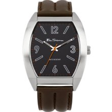 Ben Sherman Men's Quartz Watch With Black Dial Analogue Display And Brown Leather Strap R950