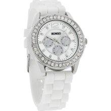 Bongo Ladies XL 39mm Crystal 3-eye Dial White Rubber Strap Quartz Watch BG9014