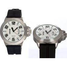 Breed Mens Alpha Analog Stainless Watch - Black Rubber Strap - White Dial - BRD5001