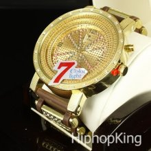 Brown Icy Bullet Band Hip Hop Ice King Watch Analog Numberic Dial Steel Back