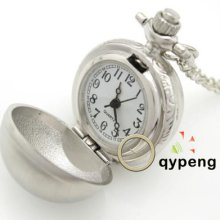 Classical Alloy Ball Shape Quartz Pocket Watch & Necklace Chain Gift