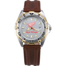 Detroit Red Wing wrist watch : Logo Art Detroit Red Wings Men's All-Star Watch with Brown Leather Band