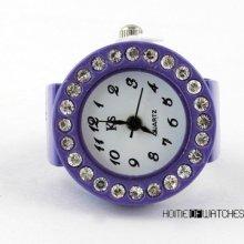 Fashion Round Dial Clear Bling Crystal Elastic Purple Finger Ring Watch Quartz