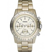 Fossil Stella Large Aluminum Champagne Chronograph Womens Watch CH2708