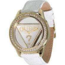 Guess Gold Logo Triangle White Strap Lady Watch