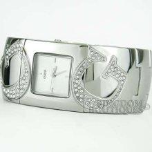 Guess Watch Ladies Bangle Silver Steel Swarovski Logo U13587l1 Montre