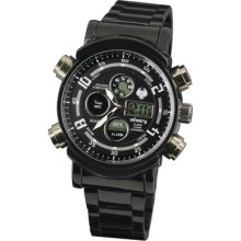 Infantry Mens Lcd Chronograph Black Stainless Steel Quartz Sport Army Watch Gift