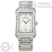 Karen Millen Ladies Silver Bracelet Swarovski Analogue Watch Km111sm Rrp £125