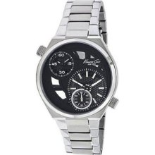 Kenneth Cole Mens New York Transparency Dual Time Stainless Watch - Silver Bracelet - Black Dial - KC3991