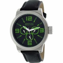 Kenneth Cole Mens Reaction Analog Stainless Watch - Black Leather Strap - Black Dial - RK1266