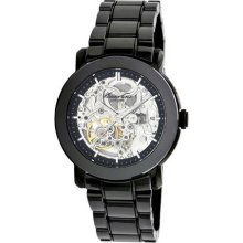 Kenneth Cole Womens New York Automatic Ceramic Bracelet Stainless Watch - Black Bracelet - Skeleton Dial - KC4725