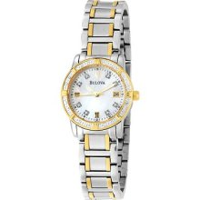Ladies Dress Bulova Quartz Gold Tone & Stainless Steel Diamond Watch 98r107
