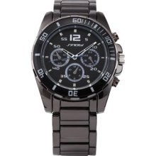 Mens Analog Black Dial Stainless Steel Band Quartz Sport Gift Wrist Watch
