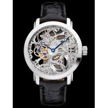 Mens Hand Winding Full Skeleton Black Leather Band Wrist Watch Nhkalalss3