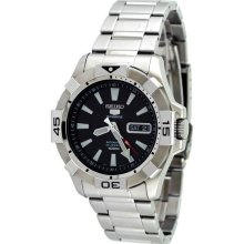 Mens Seiko Sport Automatic Watch Snzh11 Stainless Steel Band Black Di
