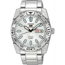 Men's Stainless Steel Seiko 5 Sports Automatic White Dial Day Date