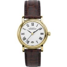 Michel Herbelin Women's Quartz Watch With White Dial Analogue Display And Brown Leather Strap 12432/P01ma