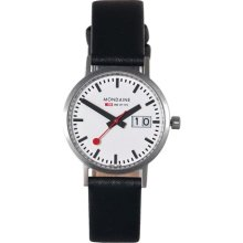 Mondaine New Classic Date 33mm Watch - White Dial, Black Leather Strap A669.30008.16SBO Sale Authentic