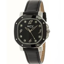 Nice Italy Womens Sofia Stainless Watch - Black Leather Strap - Black Dial - NICW1056SOF021001