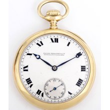 Patek Philippe & Co. Vintage 18k Yellow Gold Open Face Pocket Watch Pr