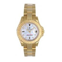 Rolex Ladies Yachtmaster 18K Yellow Gold White Mother of Pearl Dial with Sapphires - Unworn / Model # 169628