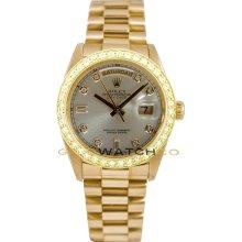 Rolex Mens 18K Yellow Gold President Day Date Model 18038 Custom Added Silver Diamond Dial & 2Ct Diamond Bezel