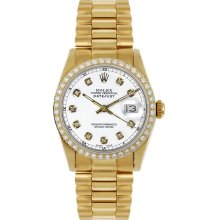 Rolex Women's President Midsize Custom Diamond Bezel White Diamond Dial