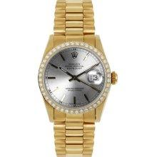 Rolex Women's President Midsize Custom Diamond Bezel Silver Index Dial