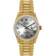 Rolex Women's President Midsize Custom Diamond Bezel Silver Roman Dial
