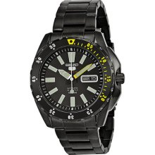 Seiko 5 Sports Automatic Black Dial Black Ion-plated Stainless Steel Mens Watch