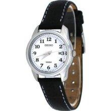 Seiko Easy Reader White Dial Black Leather Ladies Watch SXDE77