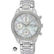 Seiko Ladies` Crystal Chronograph Watch