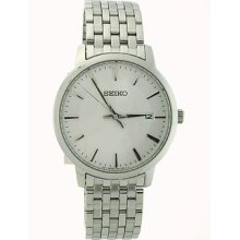 Seiko Men's Quartz Watch With White Dial Analogue Display And Silver Stainless Steel Bracelet Sgef87