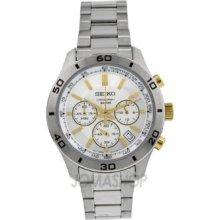 Seiko Men's Stainless Steel Case Chronograph Date Steel Bracelet Watch Ssb051