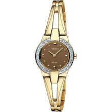 Seiko Solar Women's Gold Plated Stainless Steel Case Watch Sup054
