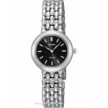 Seiko Solar Womens Stainless Steel Dress Watch - Black Dial - 50m SUP047