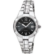 Seiko Sut067 Womens Stainless Steel Solar Watch With Black Dial And Diamonds