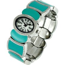 Silver Turquoise Aquoa White Oval Face Metal Wide Cuff Bracelet Watch Usa Seller