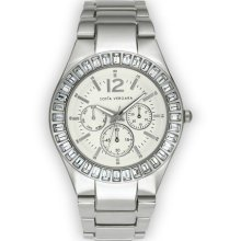 Sofia by Sofia Vergara Women s Watch Round Silver Stone Faux Eye link