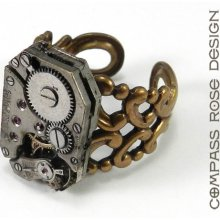 STEAMPUNK Ring - Mechanical Watch Ring - 16 Ruby Jewel Movement - Brass Adjustable Ring - SOLDERED not glued