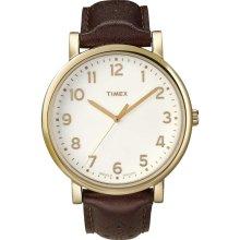 Timex T2N625 Men's Quartz Gold Tone White Dial Brown Leather strap Wat