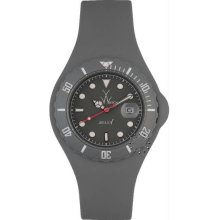Unisex Jelly Gray Plastic Resin Case Gray Dial Silicone Strap Date Dis