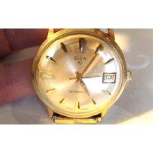 Vintage Elgin Self Winding Wristwatch/Men's/Gold Plated Bezel/Swiss Made