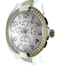 11622l3 Guess Ladies White Band Swarovski Multi Functions Watch