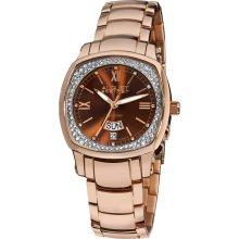 August Steiner Women's Day Date Diamond Steel Watch (Ladies Stainless Steel Swiss Quartz)