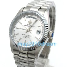 Automatic Mechanical Stainless Steel Day Date White Wrist Watches