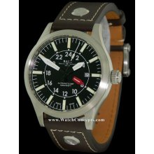 Ball Engineer Master II Aviator GMT 44mm Watch - Black Dial, Leather Strap GM1086C-LJ-BK Sale Authentic Tritium