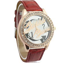Band Women's Leather Analog Quartz Wrist Watch With Fashion Hollow Pattern (Red)