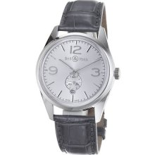 Bell & Ross Men's 'vintage' Silver Dial Grey Leather Strap Watch Br123-oficerslv